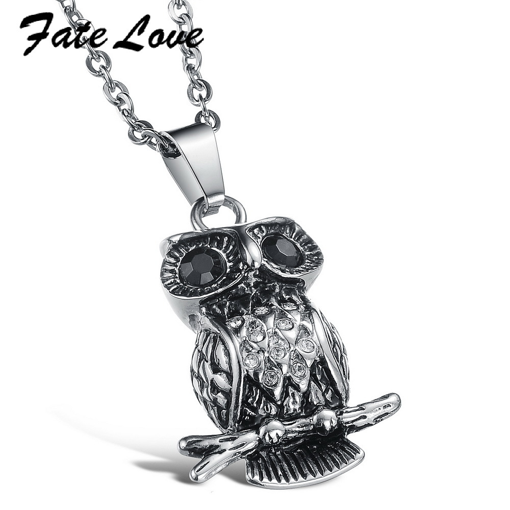 Fate Love Vintage 316L steel owl pendant necklace with BIg Shinning Black stone eyes Sty ...