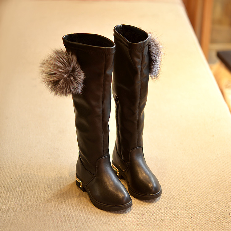 a15c4af1ae6 Over Knee Children Fashion Long Boots Real Rabbit Fur Kids Autumn Knee  Length Shoes Princess Super Beauty Girls Martin Boots