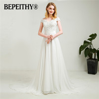 Simple Off The Shoulder Chiffon Wedding Dresses 2018 New Arrival Court Train Beach Lace Top Bridal
