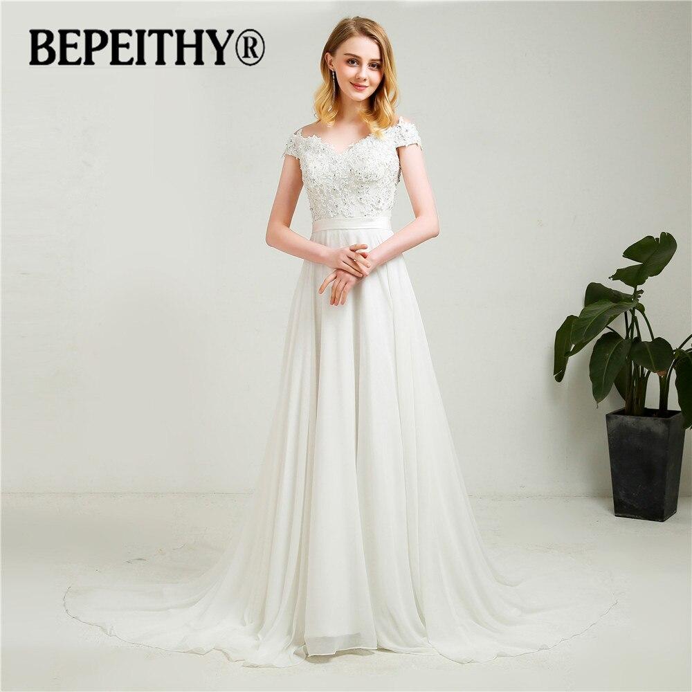 Simple off the shoulder chiffon wedding dresses 2018 new for Simple off the shoulder wedding dresses