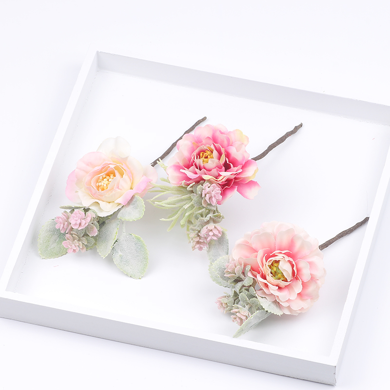 3 Pcs / Set Lovely Hair Clips With Cloth Flower Pink Color Hairpins For Girls Barrettes Photography Headwear Hair Accessories
