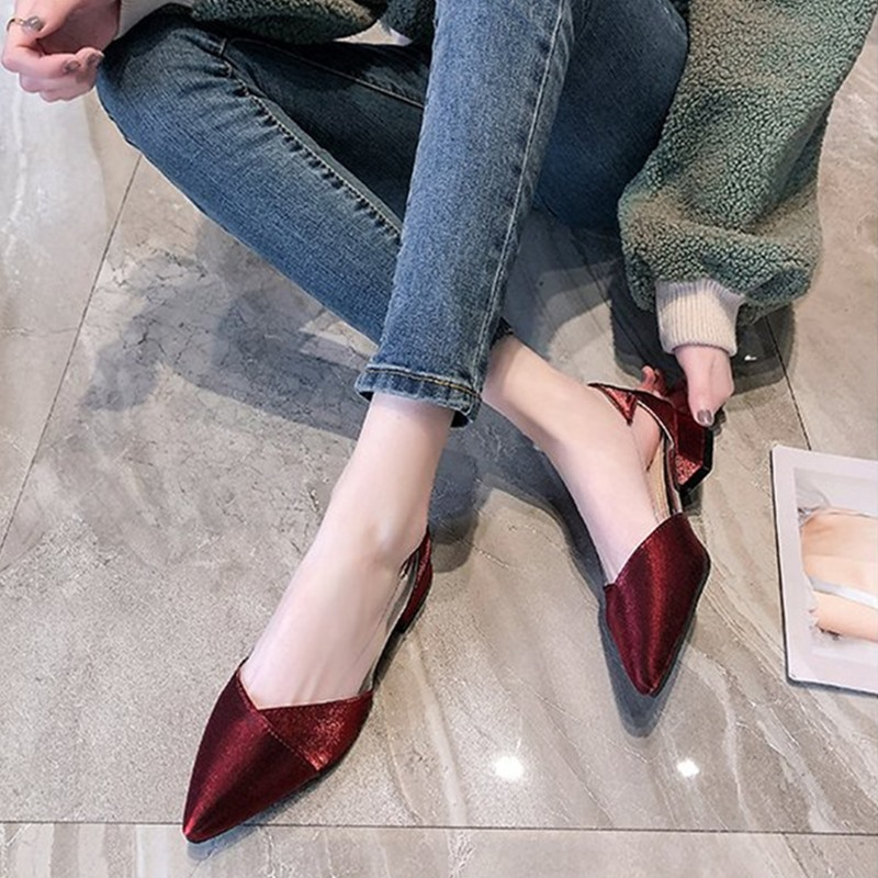 Ho Heave Women Comforty Flying Weaving Shoes Women Fashion Shallow Flock Shoes Square Mid Heel Square Toe Pumps Casual Shoes