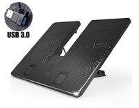 W434 Скорость Регулируемая охлаждающая подставка для ноутбука Notebook Cooler Стенд 2 USB 3.0 вентилятор для MacBook Air Retina Pro Lenovo Samsung