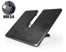 W434 Скорость Регулируемая охлаждающая подставка для ноутбука notebook cooler stand 2 usb 3.0 поддержка вентилятор для macbook air pro retina lenovo samsung