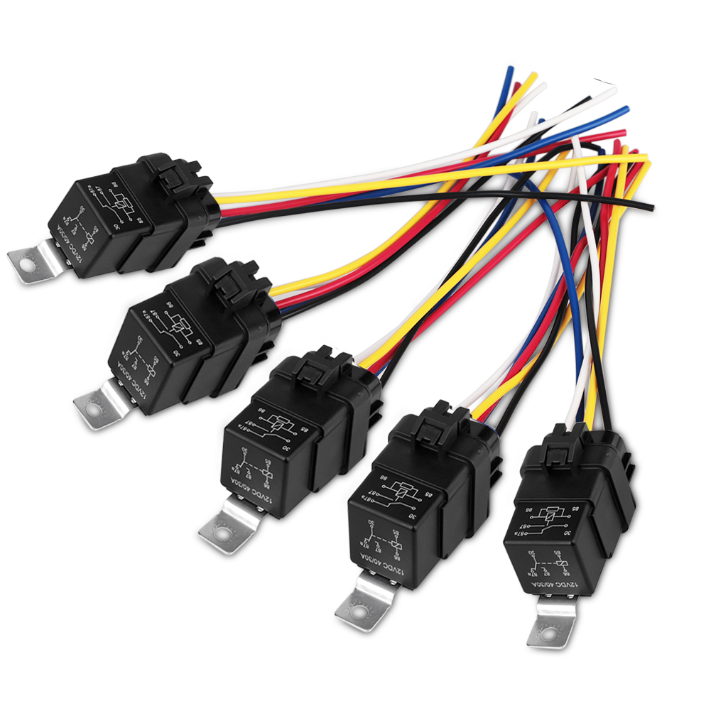 Urbanroad 5pcs  Set 40  30 Amp Car Relay Switch Harness Spdt