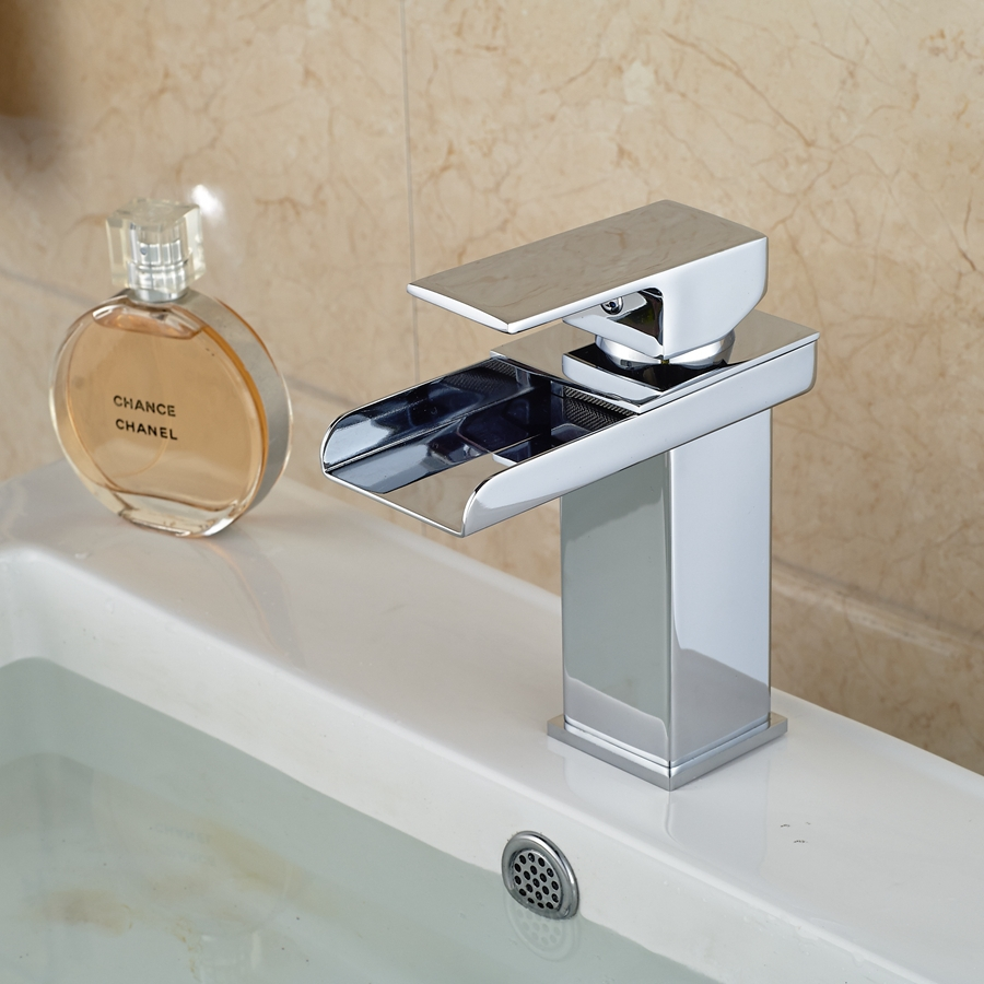 Free Shipping Wholesale And Retail Promotion Chrome Brass Waterfall Bathroom Basin Faucet Square Vanity Sink Mixer Tap 1 Handle