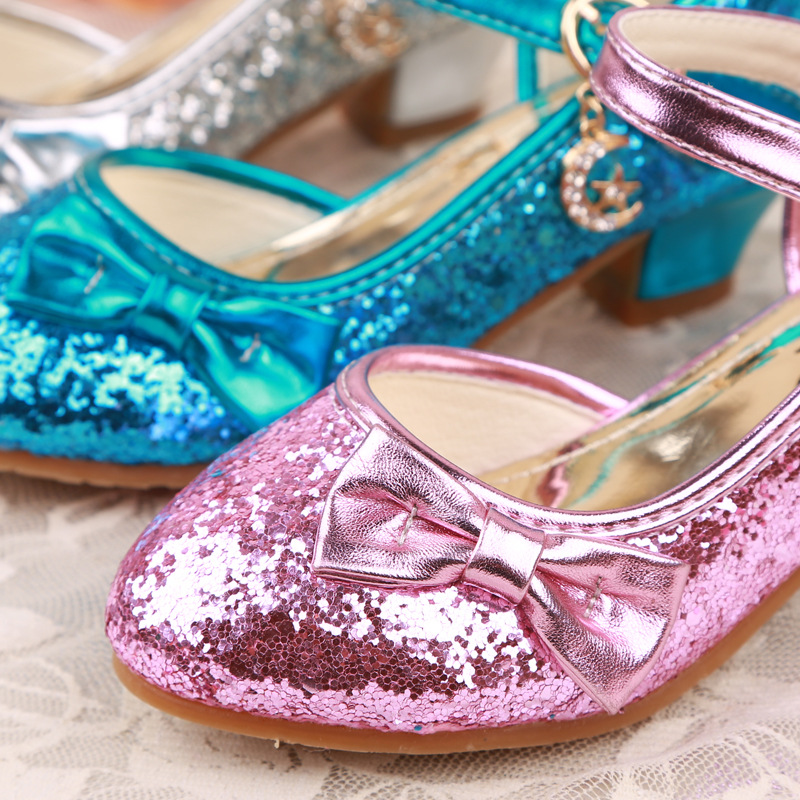 71efd0d9ba5e Sequin Glitter Princess Shoes Girls High Heels Pumps Kids Rhinestone  Wedding Party Dance Shoes For Girls Sandals With Bow-in Leather Shoes from  Mother ...