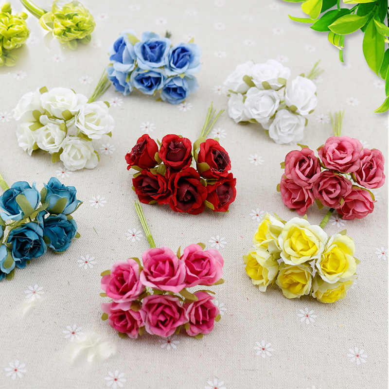 6 pcs Silk Rose flores Artificial Flowers cheap Bouquet home Wedding Decoration DIY Wreath gifts scrapbooking craft Fake flower