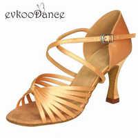 カーキtanブラックシルバーブラウンサイズ米国4-12 zapatosデバイレヒール高さ8センチプロフェッショナルラテンサルサダンスシューズ女性nl061