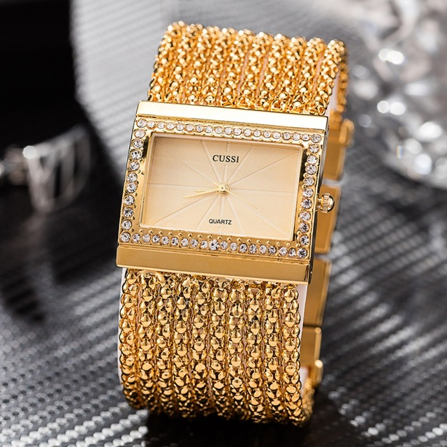 Cussi Chain Bracelet Watches Gold/Silver IP Gold Plated Diamond dial Quartz Watc