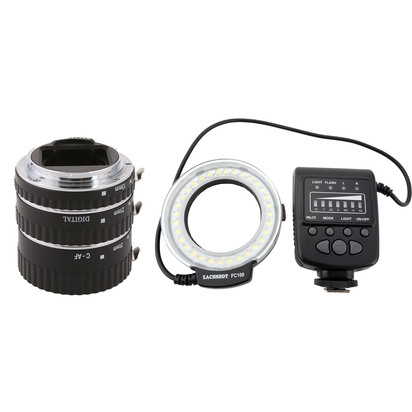 Meike Metal Auto Focus Macro Extension Tube + FC-100 Ring Flash Light for canon