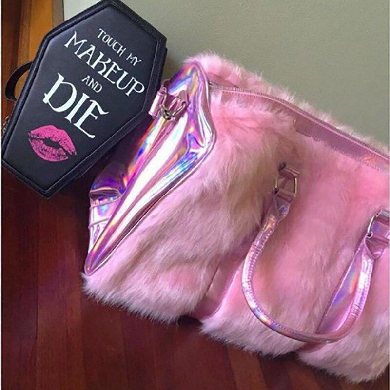 Grand fourre-tout pour femmes 2018 peluche rose Sac de voyage mignon dames sacs à bandoulière grande femme sacs à Main Sac a Main Sac fourre-tout pour femmes - 4