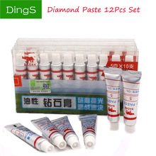 12pcs W0.5 ~40 Oily diamond abrasive paste for polishing and lubricating glass ceramic metal alloy grinding tools