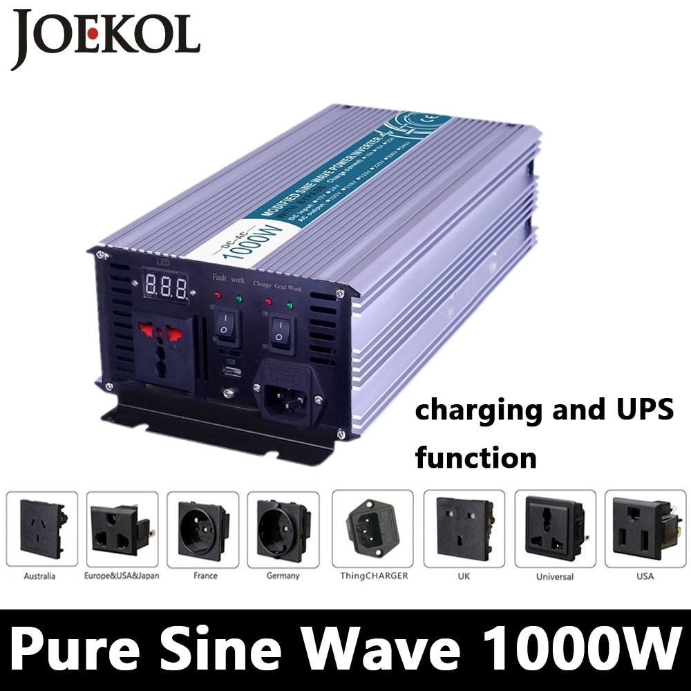 1000 Вт чистый синусоидальный инвертор, DC 12 В/24 В/48 В к AC110V/220 В, решетки солнечных инвертор, преобразователь напряжения с зарядным устройством