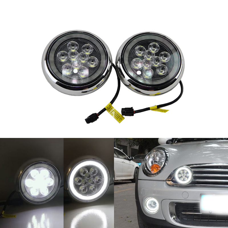 For Mini Cooper OEM Style Led Halo Rally Driving Light For R55 R56 R57 R58 R60 R61 F56 Daytime Running Lights With Angel Eyes new led daytime running lights drl with halo ring angel eyes for mini cooper rally driving lights front bumper 6000k 1900lm auto