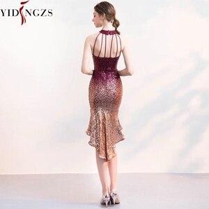 Image 3 - YIDINGZS ホルターエレガントなスパンコールウェディングドレスショートフロントロングバックスパークルイブニングパーティードレス YD661