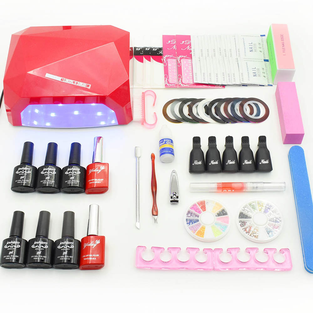 NAIL ART BASE TOOL 36W LED Lamp & 6 Color soak off Gel nail base gel top coat gel nail polish kit Manicure Sets & Kits nail art manicure tools set uv lamp 10 bottle soak off gel nail base gel top coat polish nail art manicure sets