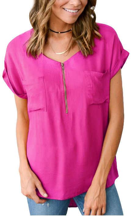 プラスサイズ S-5XL 女性ブラウス夏 2019 ファッション V ネック半袖ソリッドシャツ女性ポケット夏新ブラウス