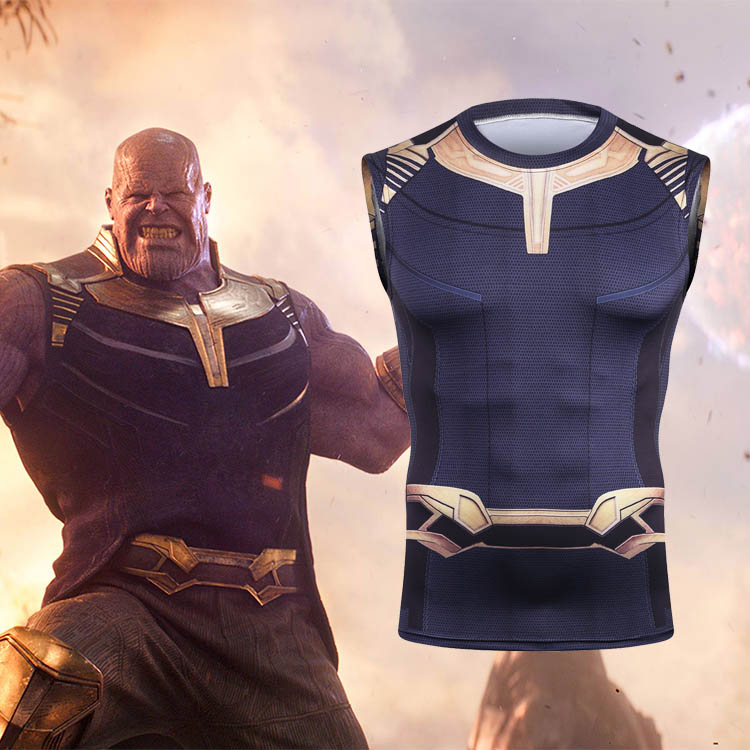 Avengers Infinity War Thanos Cosplay Props T-Shirts Sport Fitness Tight Tee