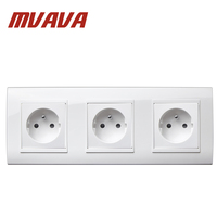 MVAVA 16A Triple FR Standard Socket Dual AC 250V Electrical Wall Receptacle PC White Plug Outlet Free Shipping French Socket