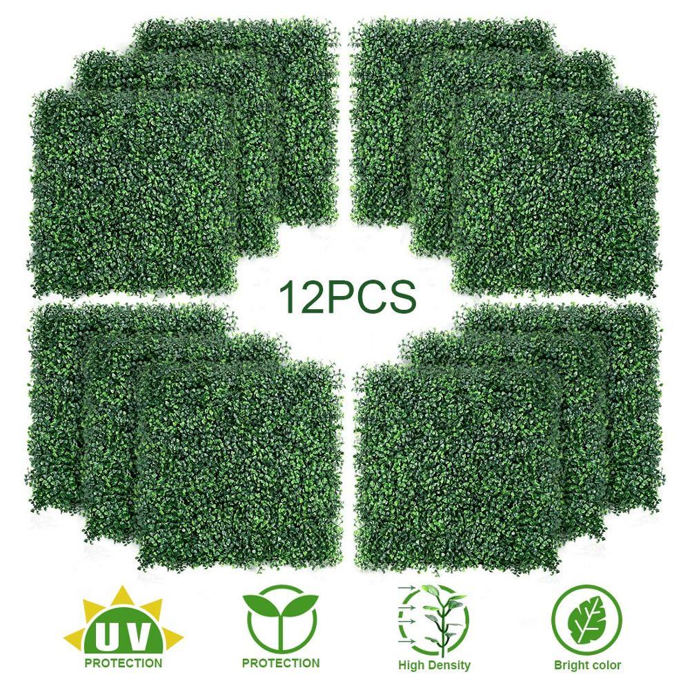 12 pièces artificiel buis topiaire haie plante Protection UV intérieur extérieur intimité clôture décor maison arrière-cour jardin décoration