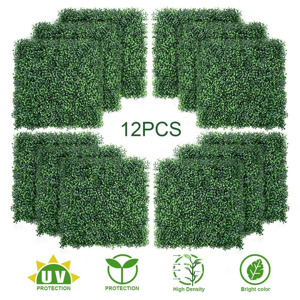 12PCS Artificial Boxwood Topiary Hedge Plant UV Protection Indoor Outdoor Privacy Fence Home Decor Backyard Garden Decoration12PCS Artificial Boxwood Topiary Hedge Plant UV Protection Indoor Outdoor Privacy Fence Home Decor Backyard Garden Decoration