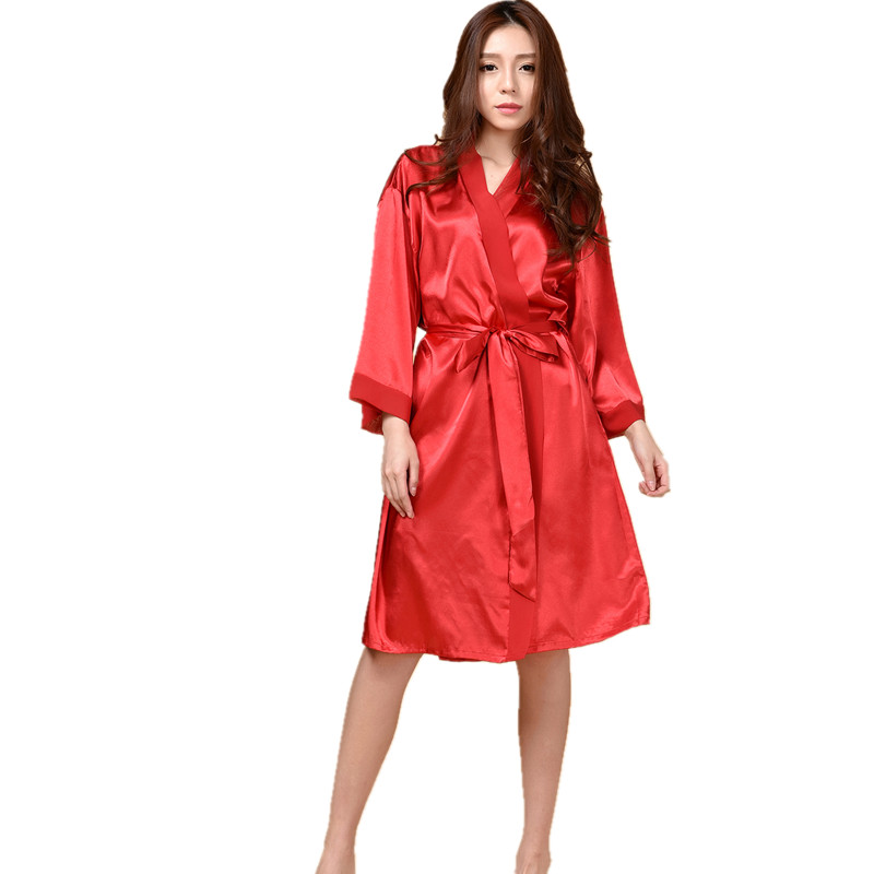 Top Quality New Red Chiese Women Silk Chiffon Robe Sexy Kimono Bath Gown Sleepwear Nightgown Casual Robe One Size T04