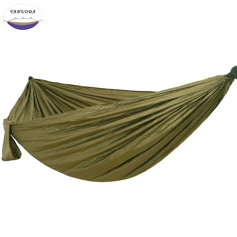 Camping Hammock, Portable Parachute Nylon Fabric Travel Ultralight Camping Double Wide Outdoor Travel Solid Color Green aotu at6716 parachute nylon fabric double hammock neon green