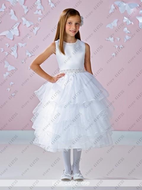 Orange Ruffled Flower Girl Dresses