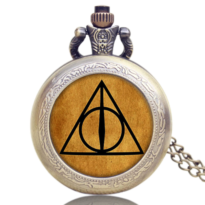 Hot Bronze Steampunk Luna Triangle the Deathly Hallows Quartz Pocket Watch Men Women Boys Necklace Pendant Relogios Gifts black deathly hallows glasses bracelet