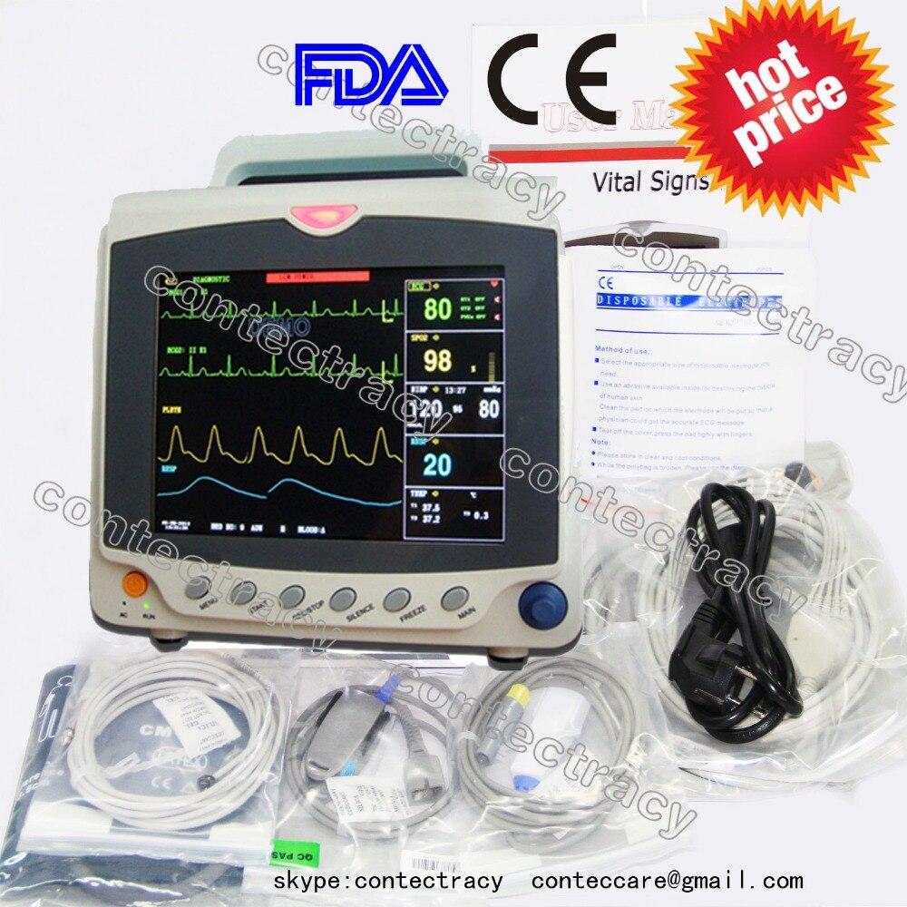 Cms6000c icu paciente monitor ecg/ekg/nibp, spo2, pr, resp, temp, 6-parâmetros, contec