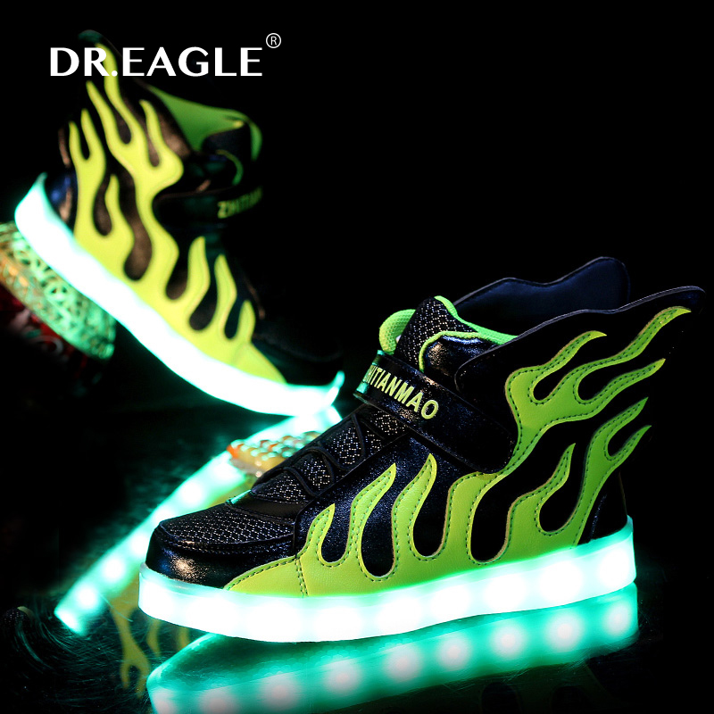 Boys Girls USB Charger led Children Shoes with Light Kids Wing Flashing Lighted Luminous School Sneakers Free Shipping children roller sneaker with one wheel led lighted flashing roller skates kids boy girl shoes zapatillas con ruedas