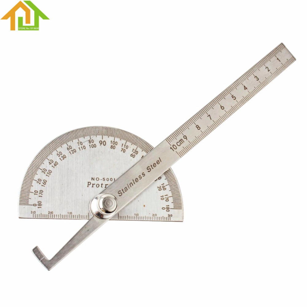 Stainless Steel Protractor Round Head Angle Rule Finder Craft Arm Ruler Tool