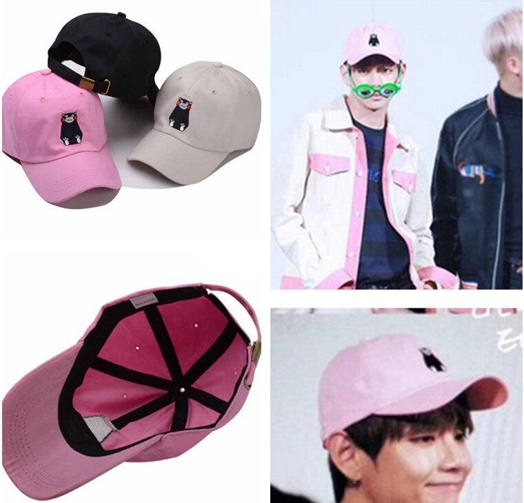 Prix pour Kpop Bangtan Garçons BTS plaques jeunes Kim accrocher avec une belle rose chapeau Xiongben V casquette de baseball k-pop ulzzang chapeau k pop belle Marchandises