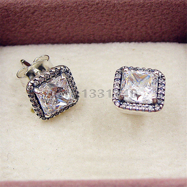 Authentic Timeless Elegance Stud Earrings With CZ 925 Sterling Silver Jewelry DIY Wholesale Compatible Pandora Jewelry