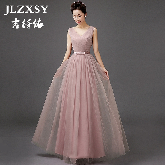 Jlzxsy New Pale Mauve Elegant Long Maxi Dresses For Wedding Bridesmaid 2017 Pleated Swing Formal