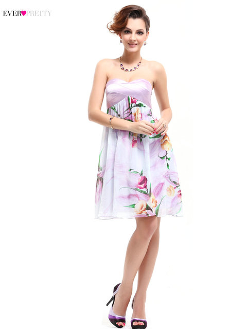 [Clearance Sale] Modern Strapless Sweetheart Cocktail Dresses HE03536 Ever Pretty Short Flower Party Gowns