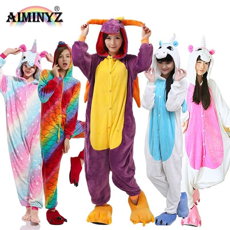 AIMINYZ Großhandel Herbst Winter Einhorn Pegasus Stich Panda Tier Flanell Pyjamas Sets Cartoon Nachtwäsche Für Erwachsene Frauen Männer