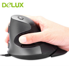 Delux usb optical Vertical gaming Mouse Wired Ergonomic design 800/1600/2400DPI  Buttons  6 Optical Mice For PC Laptop Computer