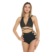 2018 Womens Sexy Strappy High Waist Swimsuit Bandage Bikini Top High Waisted Swimsuit Bottoms Brazilian Biquines