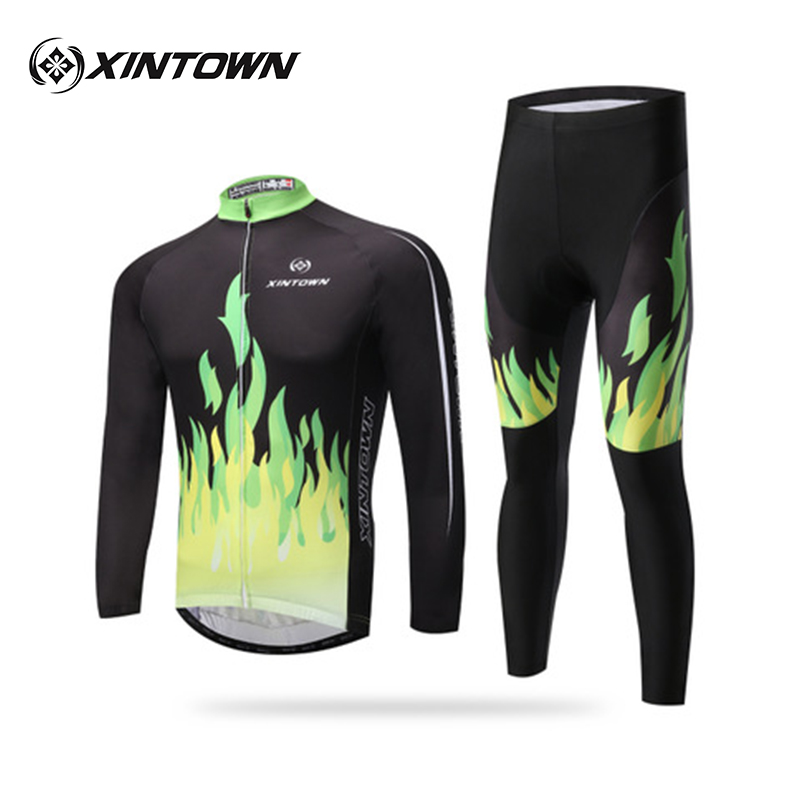 XINTOWN Green Riding Long Suit Bicycle Clothing Age Season Quick-drying Moisture Absorption Perspiration