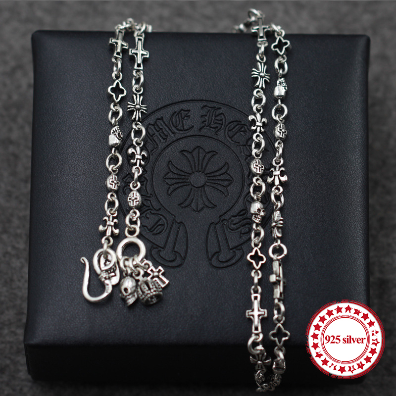 S925 sterling silver necklaces pendants retro personality classic fashion punk style skull cross necklace pendant gift of lover 1 6pcs 35mm od x 32mm id x 1000mm 100
