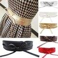 Nueva Exquisito de Las Mujeres Correa Ancha de Cuero Suave Auto Tie Wrap Alrededor de La Cintura Señoras de la Banda de accesorios Muchachas de La Correa Vestido de Verano
