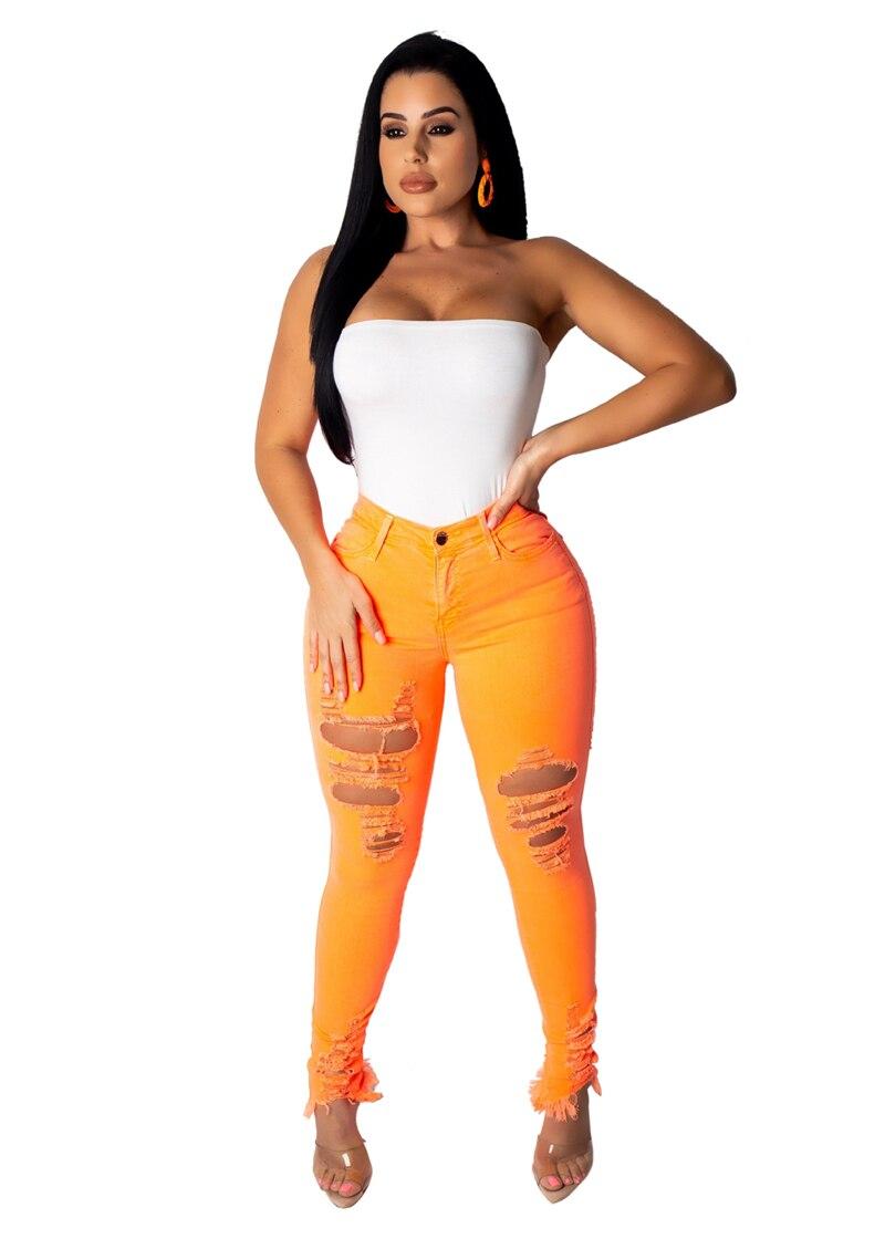 Adogirl Fluorescence Color Women Jeans Pants Highly Stretchy Holes Casual Denim Trousers Plus Size S-2XL Fashion Pencil Pants Pants & Capris Women Bottom ! Plus Size Women's Clothing & Accessories