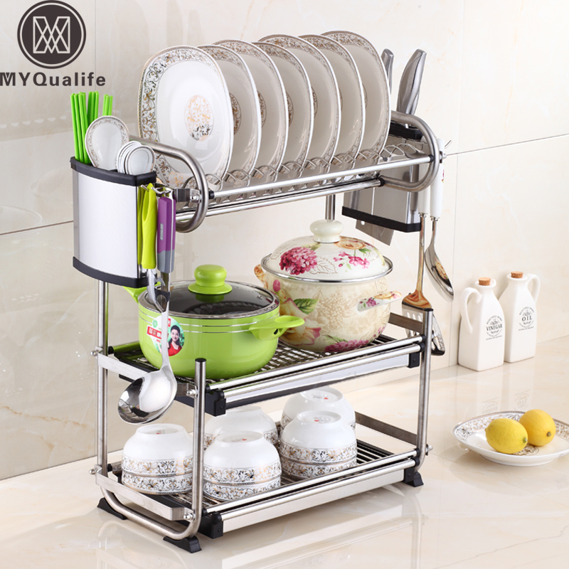 Stainless Steel Dish Rack Set 3-Tier Plate Dish Cutlery Cup Rack With Tray Steel Drain Bowl Rack Kitchen Shelf stainless steel sink drain rack