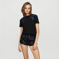 Women Shirt 2019 New Shoulder Sequin Embroidery Round Neck Short sleeved T shirt