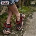 2017 new cut out mulheres sandals voltar strap saltos grossos do vintage personalidade mulheres artesanais de couro genuíno sapatos casuais 93787