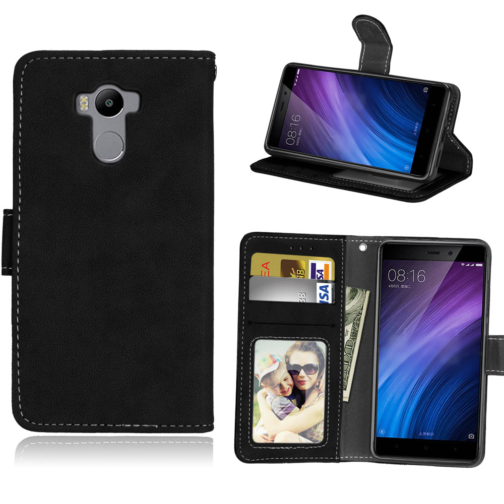 5.0 INCH Case For Cover Xiaomi Redmi 4 Cases Matte Vintage Plain Flip Phone Bag For Xiaomi Redmi 4 Pro Prime Covers Wallet Stand