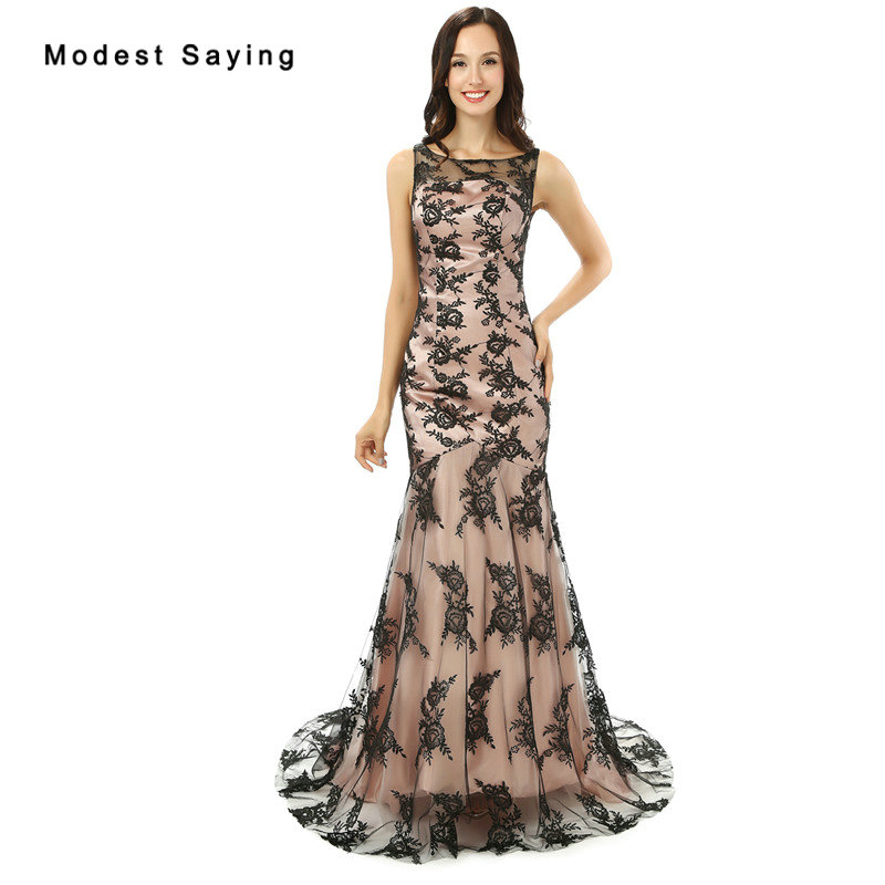 New Arrival 2017 Nude Pink Black Lace Cover   Evening     Dresses   Long Mermaid   Evening   Gowns Fashion Women Engagement Party Prom Gowns