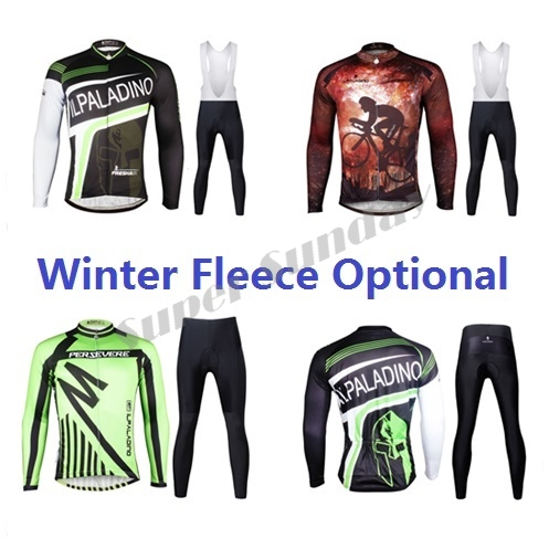 Team Cycling Jerseys Mens Cycling Clothings Long Sleeve Biking Wear Winter Fleece Optional Riding Jersey Free Shipping